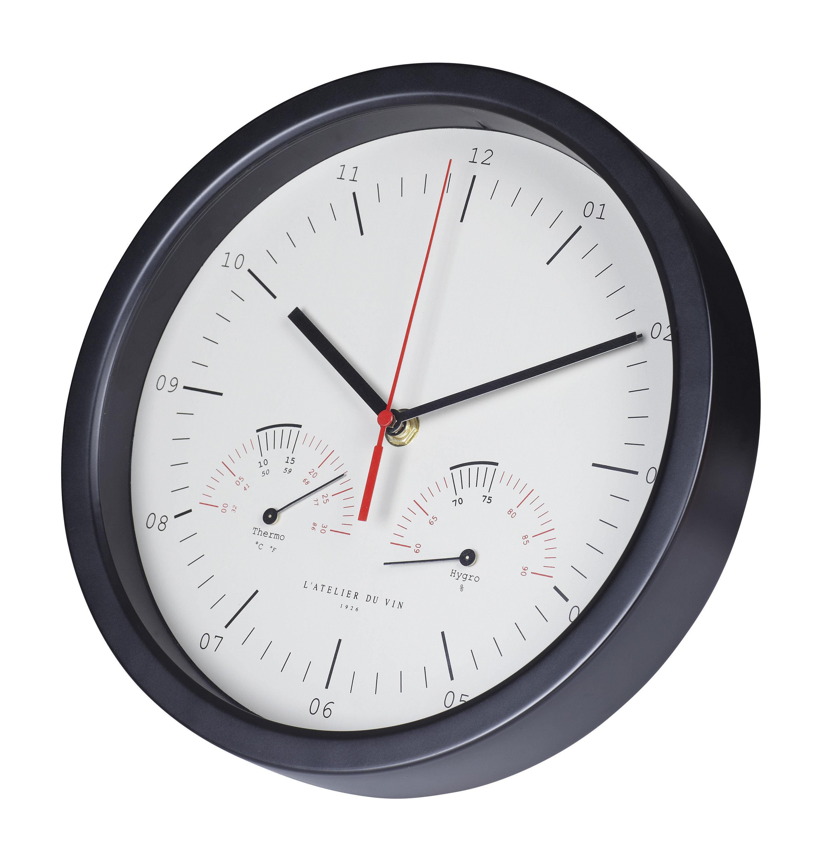 horloge murale hygro thermo mesure temp rature hygrom trie cadre noir fond blanc l. Black Bedroom Furniture Sets. Home Design Ideas