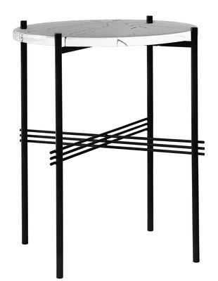 Tavolino TS - / Gamfratesi - Ø 40 x H 51 cm - Marmo di Gubi - Bianco,Nero - Metallo
