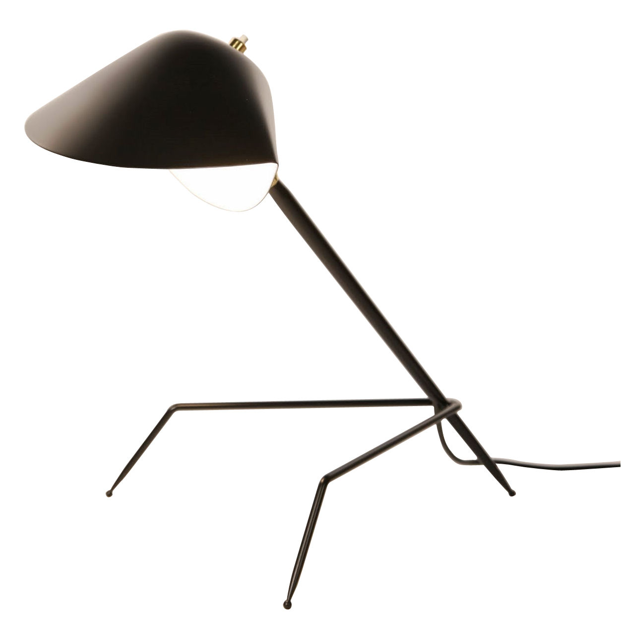 lampe de table tripode 1954 noir serge mouille. Black Bedroom Furniture Sets. Home Design Ideas