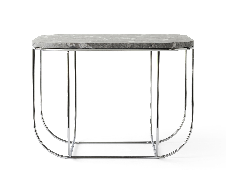 Table d 39 appoint cage 43 x 43 cm marbre marbre gris pied chrom menu - Table d appoint marbre ...