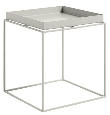 Table basse Tray H 40 cm 40 x 40 cm Carré Hay gris clair en métal