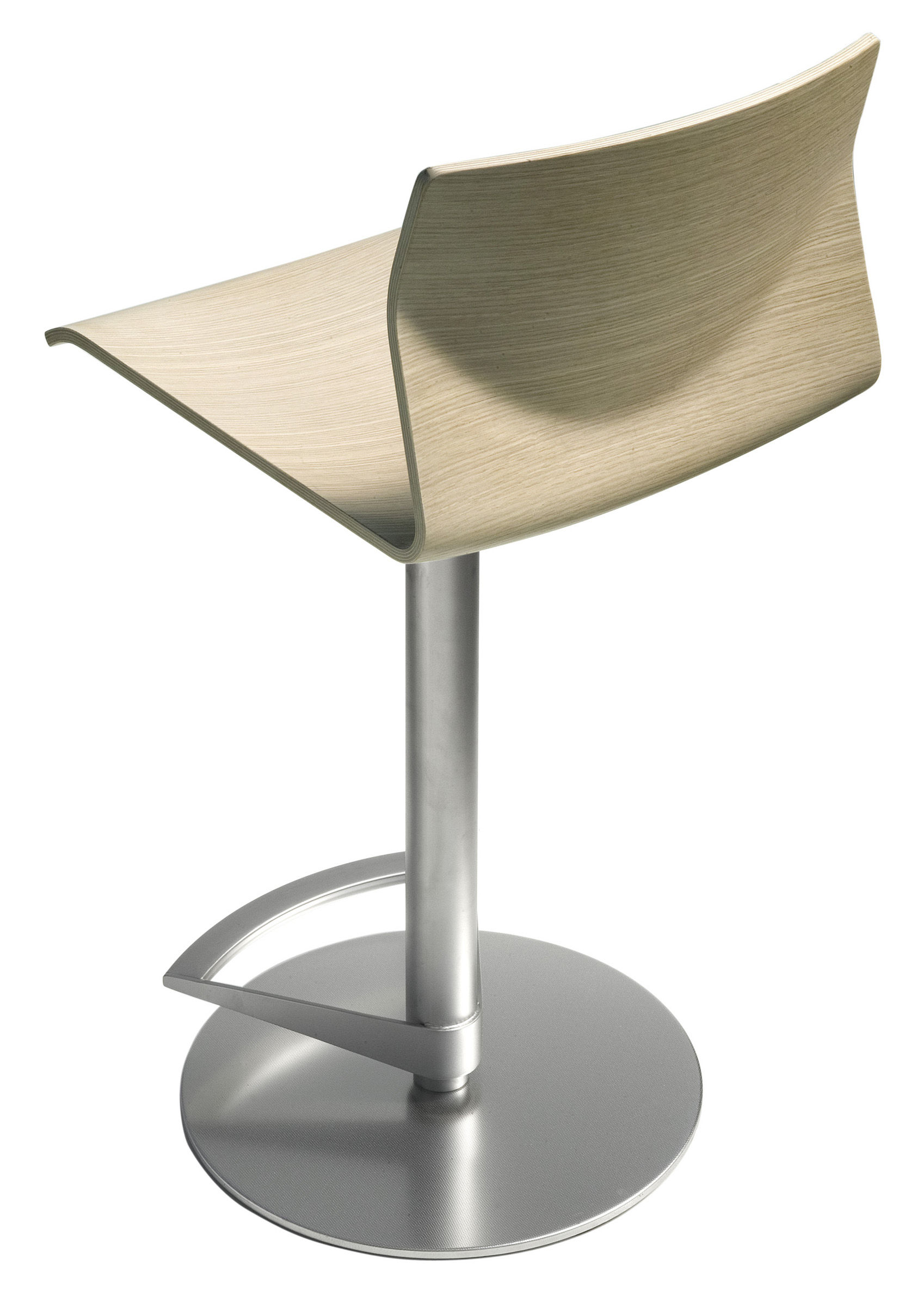 Kai Adjustable Bar Stool Pivoting Wood Seat Lacquered