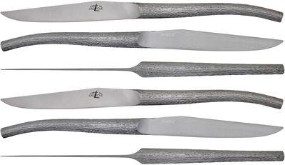 Couteau de table Log par Philippe Starck / Lot de 6 - Forge de Laguiole inox satiné en métal