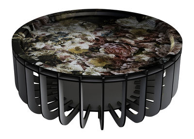 Furniture - Coffee Tables - Medusa XL Coffee table - Ø 65 cm - Removable tray by Ibride - Grey / Multicolor - Compact stratified layers