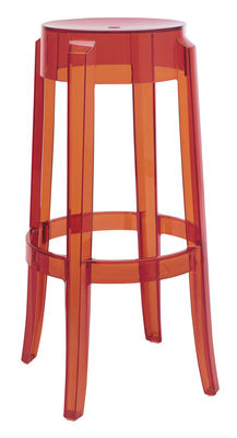 Furniture - Bar Stools - Charles Ghost Bar stool - H 75 cm - Plastic by Kartell - Orange - Polycarbonate