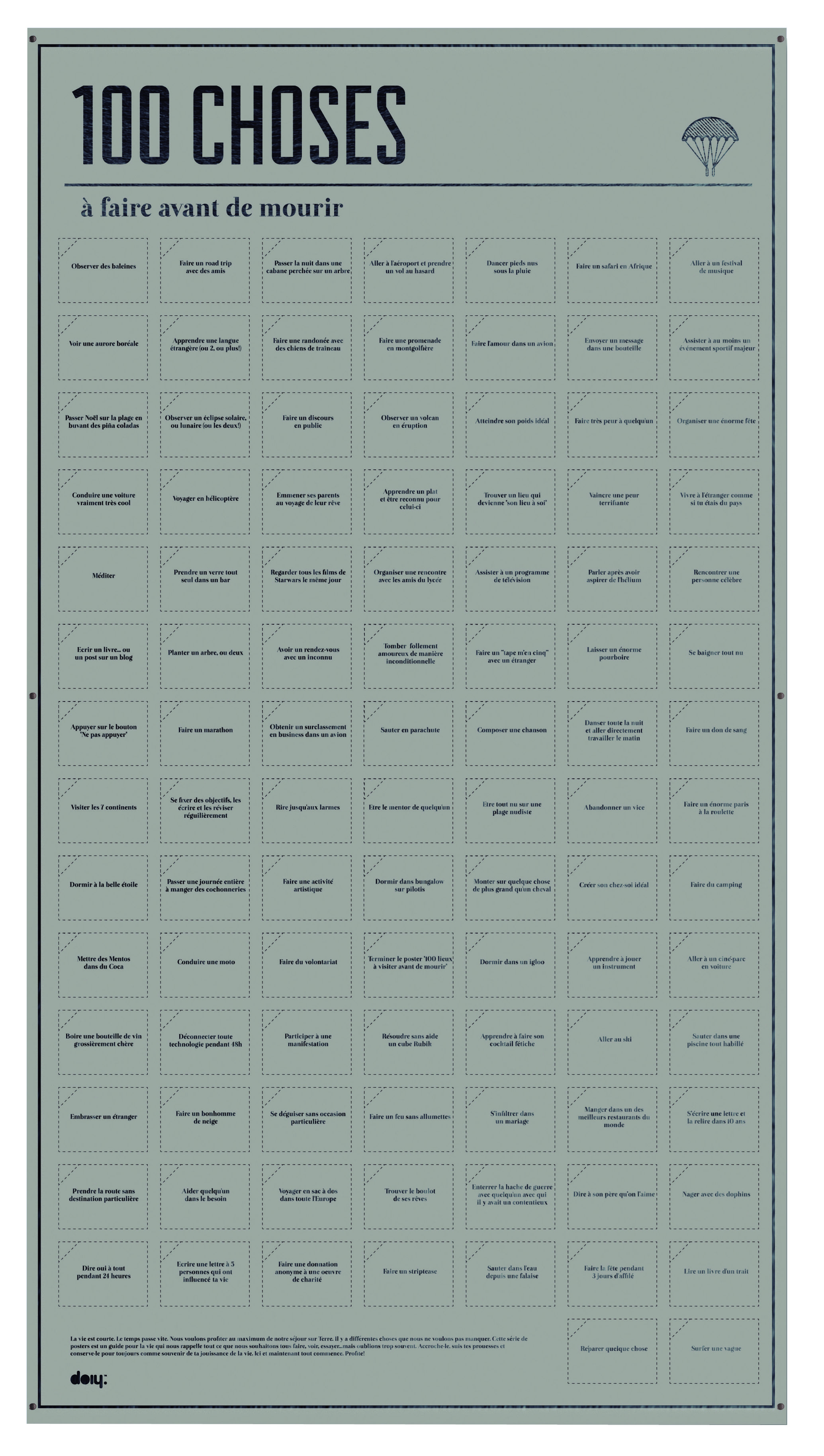 poster 100 choses faire avant de mourir avec vignettes interactives l 55 x h 98 cm choses. Black Bedroom Furniture Sets. Home Design Ideas