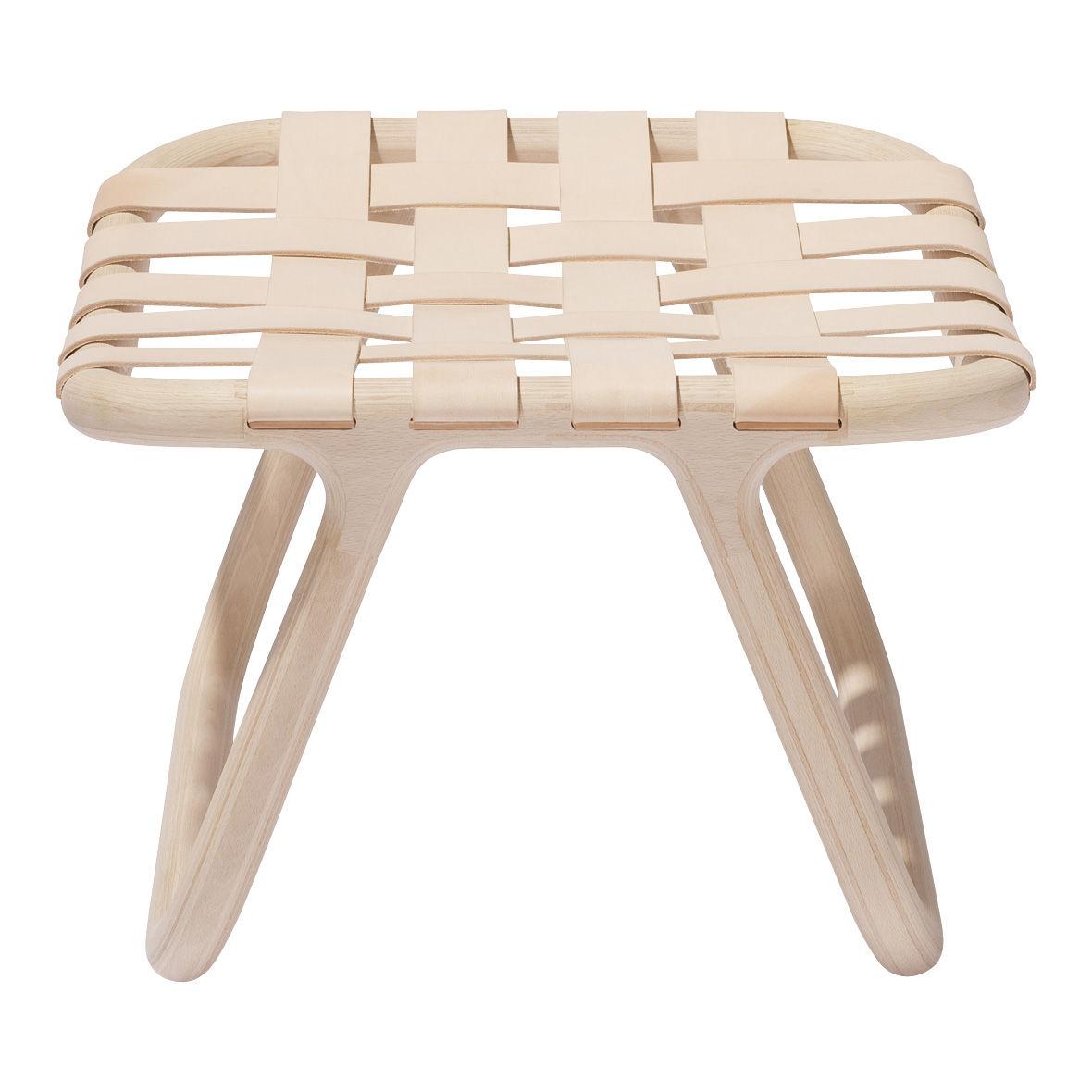 tabouret camping bois cuir bois cuir beige normann. Black Bedroom Furniture Sets. Home Design Ideas
