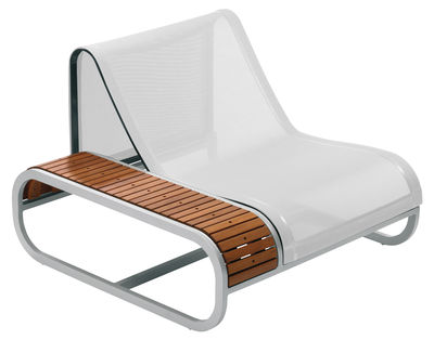 Outdoor furniture materials - Weave garden furniture - Tandem Low armchair - Teak version - Right armrest by EGO Paris - Teck / White fabric - Batyline cloth, Lacquered aluminium, Teak