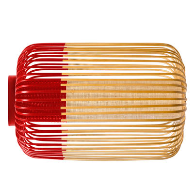 Luminaire - Appliques - Applique Bamboo light L / Plafonnier - Ø 35 x H 50 cm - Forestier - Rouge / Naturel - Bambou naturel, Tissu