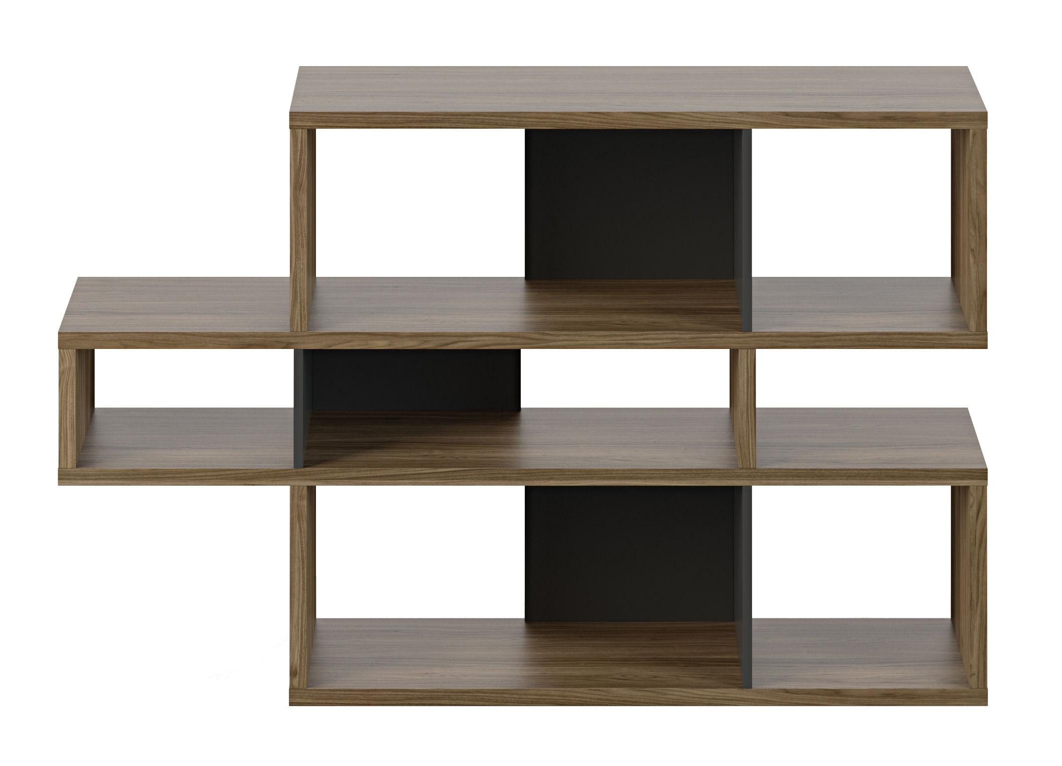 biblioth que shift 01 l 156 x h 100 cm noyer panneaux noirs pop up home. Black Bedroom Furniture Sets. Home Design Ideas
