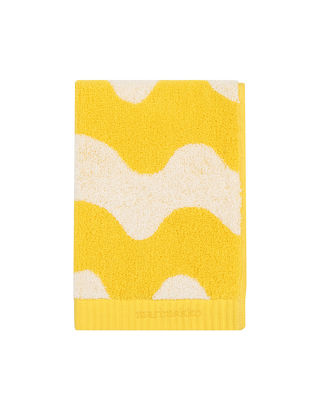 Serviette de toilette Lokki / 50 x 100 cm - Marimekko blanc,jaune en tissu