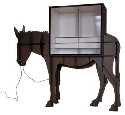 Bureau martin meuble ordinateur brun bross ibride for Meuble porte ordinateur