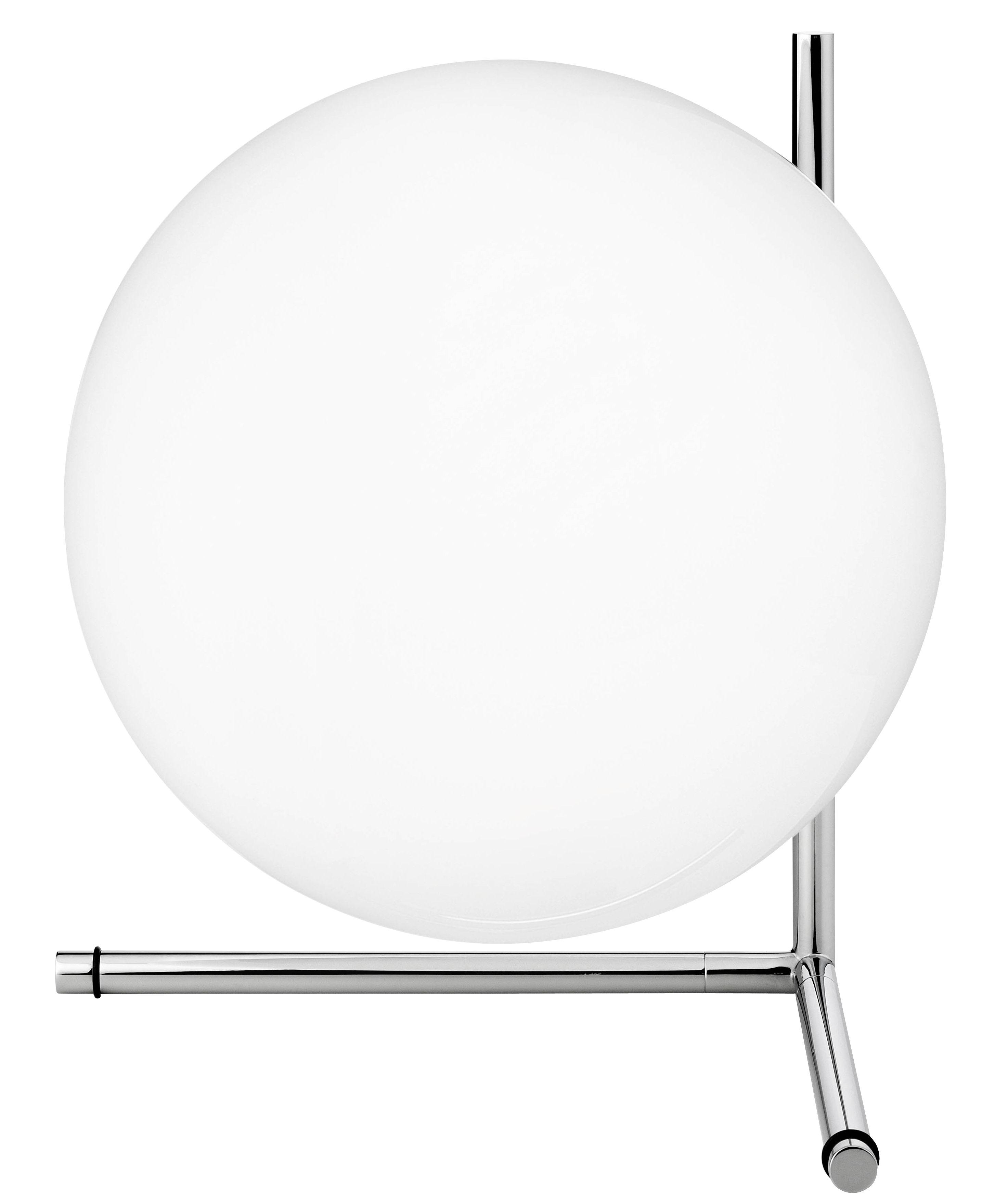 Ic t2 lampada da tavolo h 35 cm cromato by flos made for Lampada da tavolo design flos