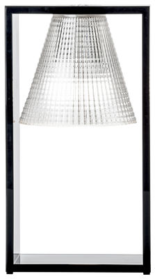 Luminaire - Lampes de table - Lampe de table Light-Air / Abat-jour plastique sculpté - Kartell - Plastique noir / Cadre cristal - Technopolymère thermoplastique