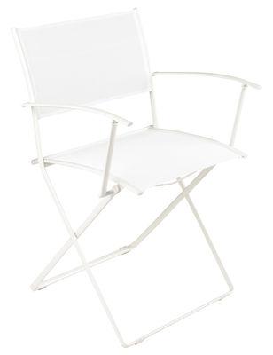 Furniture - Chairs - Plein Air Folding armchair - Fabric by Fermob - White - Cloth, Galvanized steel