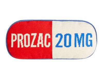 Coussin Prozac / 51 x 23 cm - Brodé main - Jonathan Adler blanc,bleu,rouge en tissu