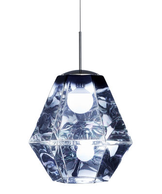Luminaire - Suspensions - Suspension Cut Tall / Ø 50 x H 55 cm - Tom Dixon - Bleu - Polycarbonate