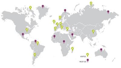 Déco - Stickers, papiers peints & posters - Sticker Traveller map - Domestic - Gris - Vinyle