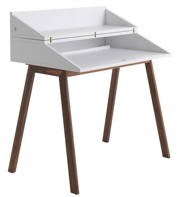 Secr taire bureau lampe led int gr e l 90 cm blanc pi tement noyer horm made in design for Bureau secretaire blanc