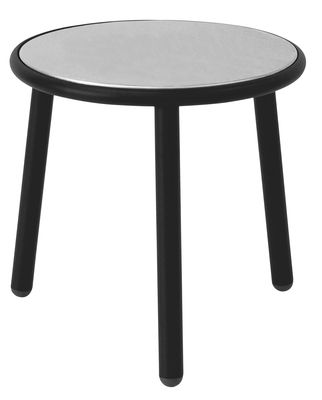 Tavolino Yard - / Ø 50 cm di Emu - Nero,Inox - Metallo