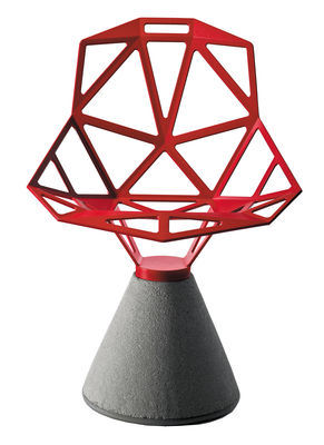 Furniture - Chairs - Chair one B Armchair - Metal & concrete base by Magis - Red - Cast aluminium, Concrete