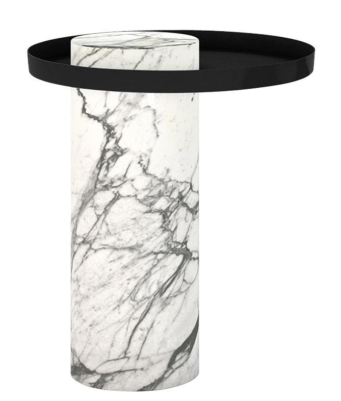 table d 39 appoint salute 40 x h 46 cm marbre m tal marbre blanc plateau noir la chance. Black Bedroom Furniture Sets. Home Design Ideas