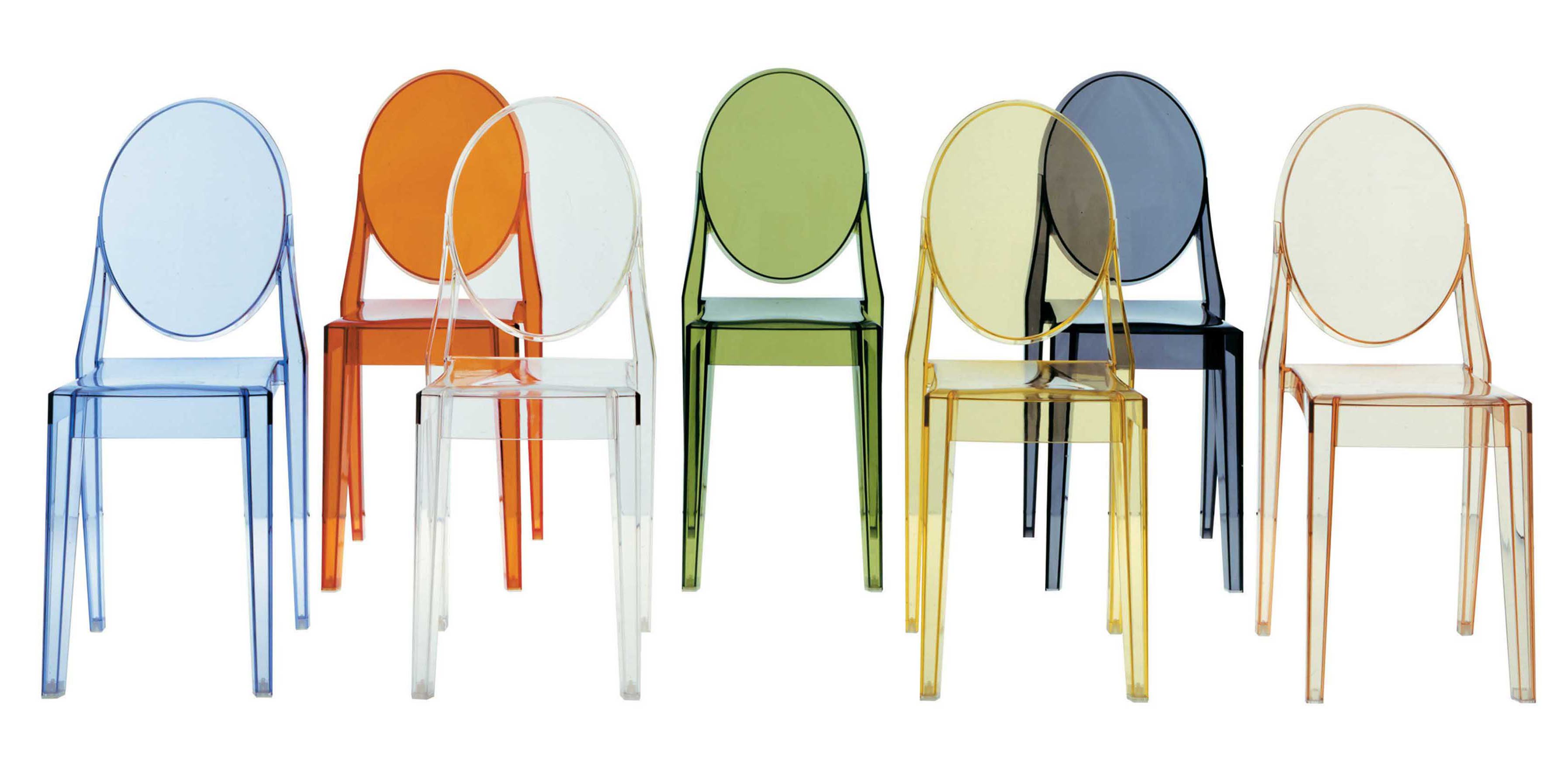Victoria Ghost Stacking chair - Polycarbonate Black smoke by Kartell