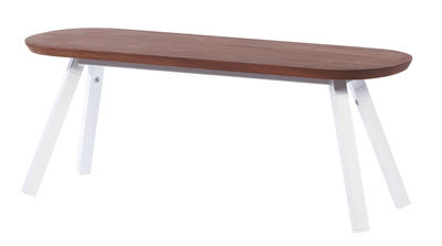 Banc Y&M / Bois & métal - L 120 cm - RS BARCELONA blanc,bois naturel en métal