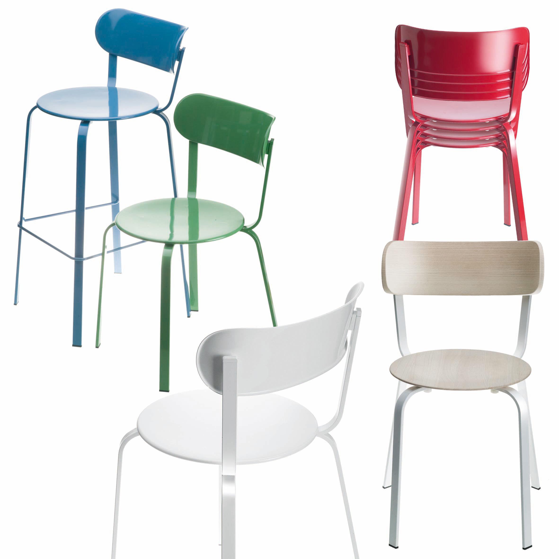 chaise empilable stil m tal m tal laqu blanc lapalma. Black Bedroom Furniture Sets. Home Design Ideas