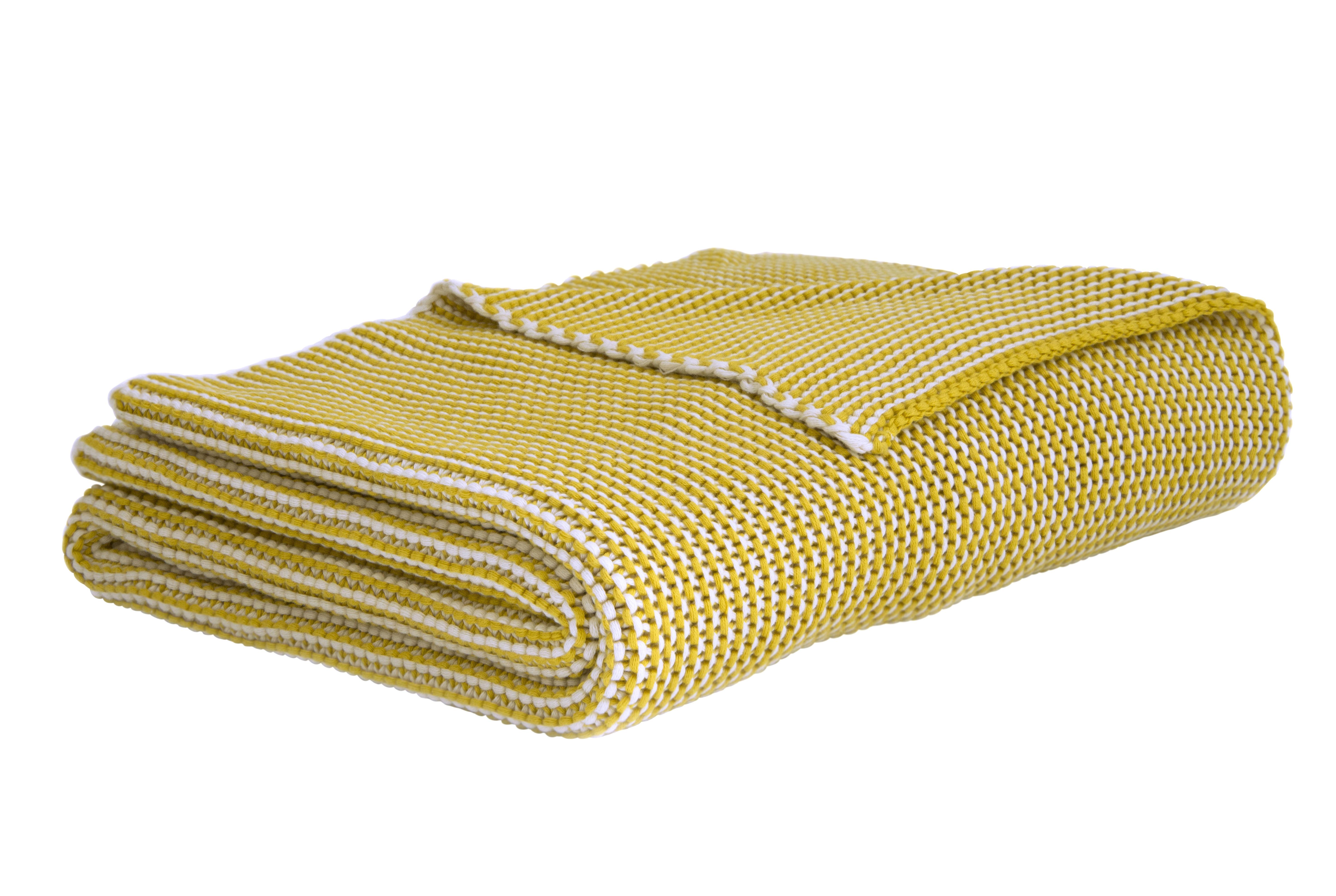 Plaid roccamare 130 x 170 cm jaune moutarde enostudio - Plaid jaune moutarde ...