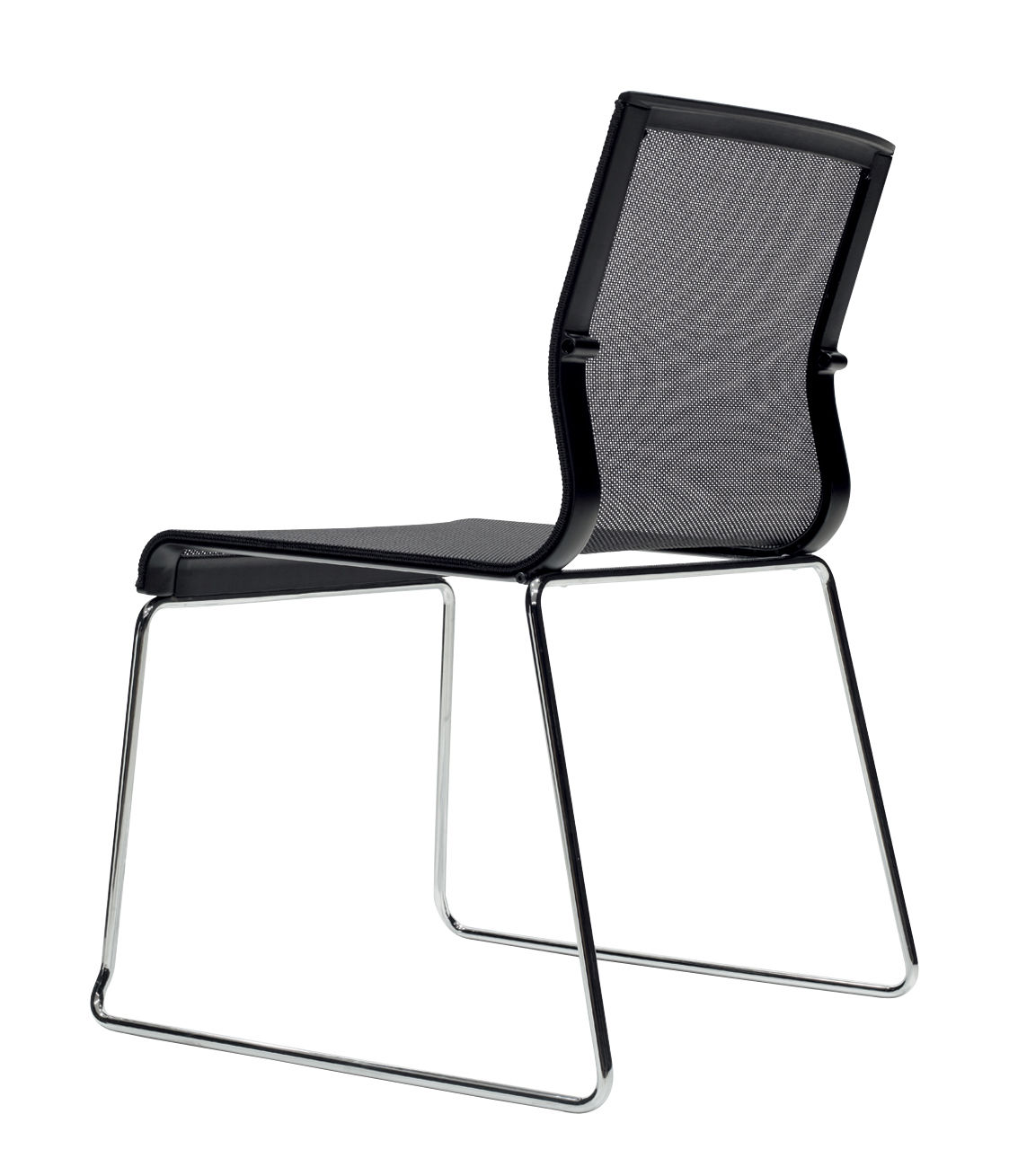 Stick Chair Stacking Chair Fabric Seat Black Mesh