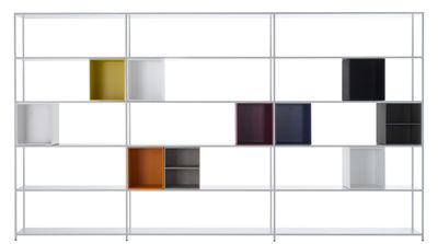 Mobilier - Etagères & bibliothèques - Bibliothèque Minima 3.0 /  L 330 x H 188,5 cm - Caissons intégrés - MDF Italia - Blanc / Caissons multicolores - Aluminium, Fibre de bois