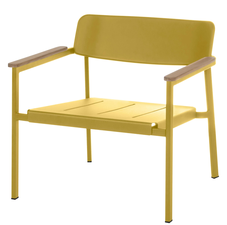 fauteuil bas shine jaune moutarde accoudoirs teck emu. Black Bedroom Furniture Sets. Home Design Ideas