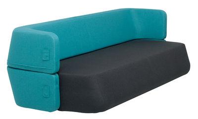 Canap convertible revolve 3 places l 210 cm turquoise - Canape convertible turquoise ...