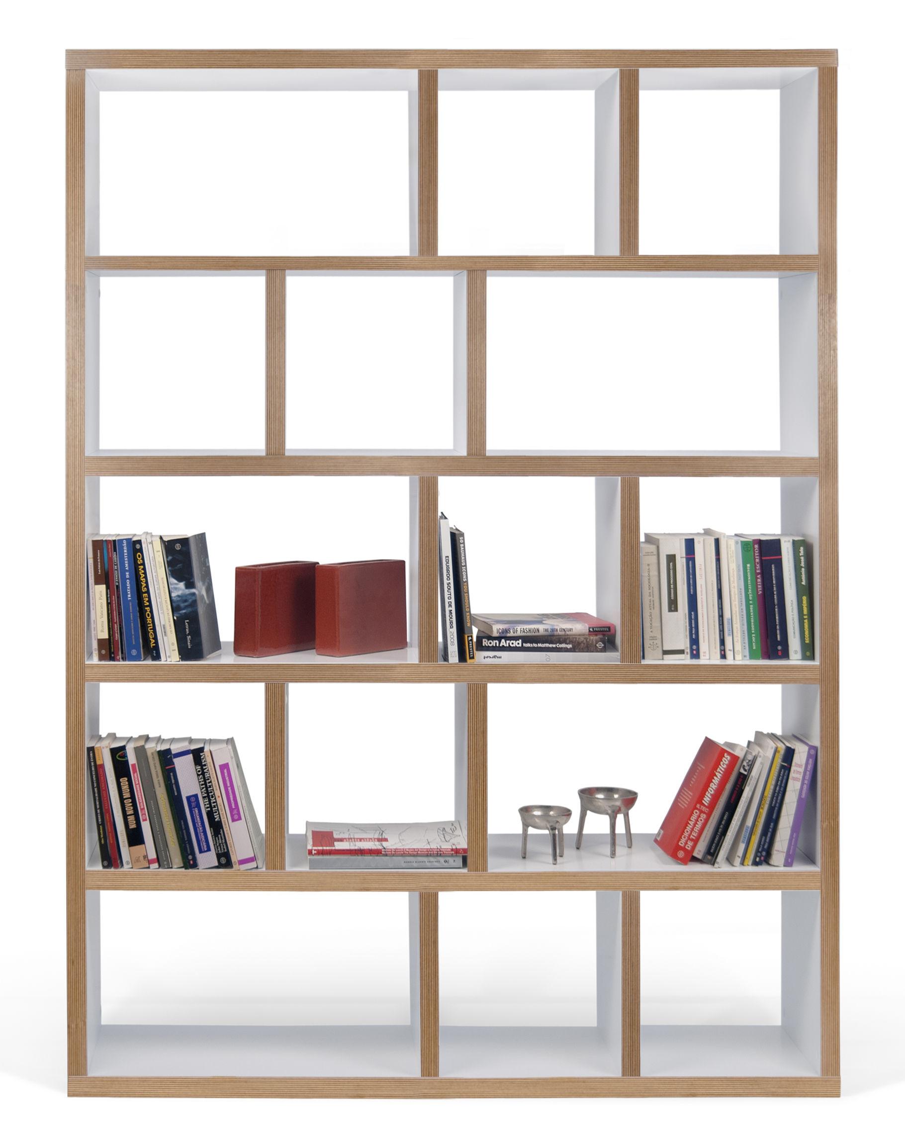 Biblioth Que Rotterdam L 150 X H 198 Cm Blanc Tranches Bois  # Bibliotheque Design Blanc
