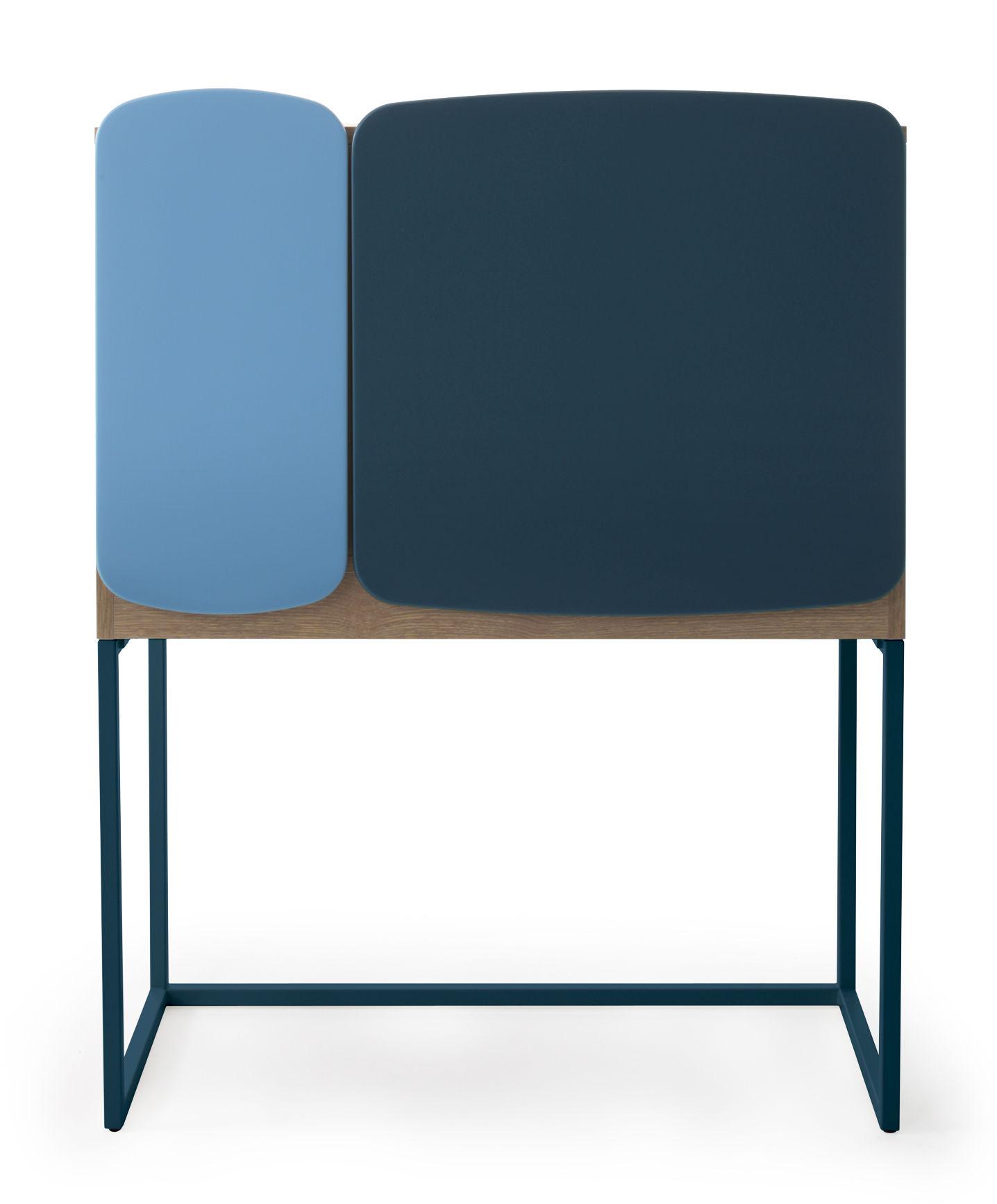 Meuble de rangement legato l 82 x h 107 cm bleu bois for Meuble rangement 110 cm