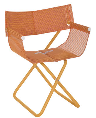 Chaise pliant Snooze Directeur Tissu métal Emu orange en métal