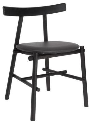 Chaise Ronin / Assise cuir rembourrée - La Chance noir en cuir