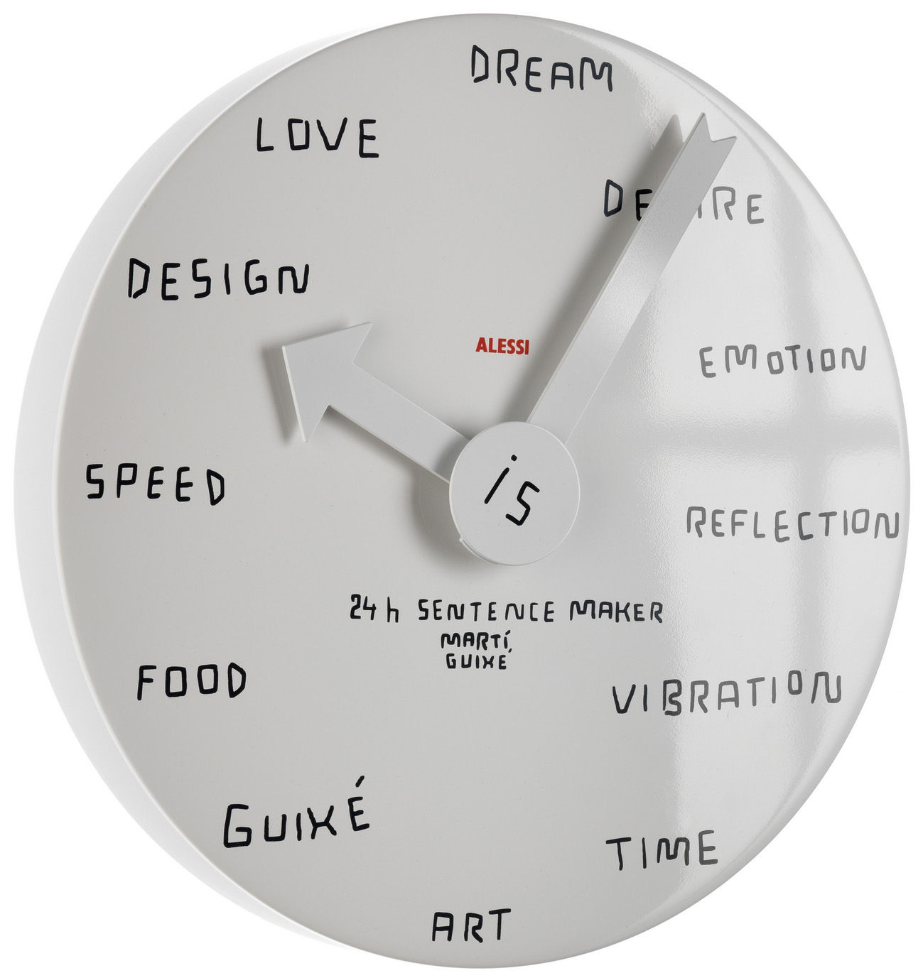 horloge murale 24h sentence maker blanc alessi. Black Bedroom Furniture Sets. Home Design Ideas