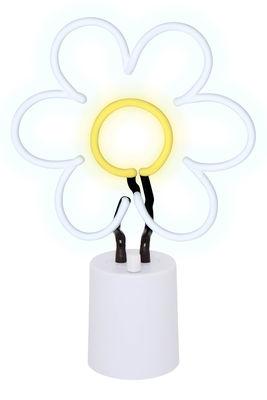 Lampe Neon Marguerite Large / H 45 cm - Sunnylife blanc,jaune en verre