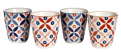 Tasse Petal Mix / Set de 4 - Peint à la main - Pols Potten bleu,rouge en céramique