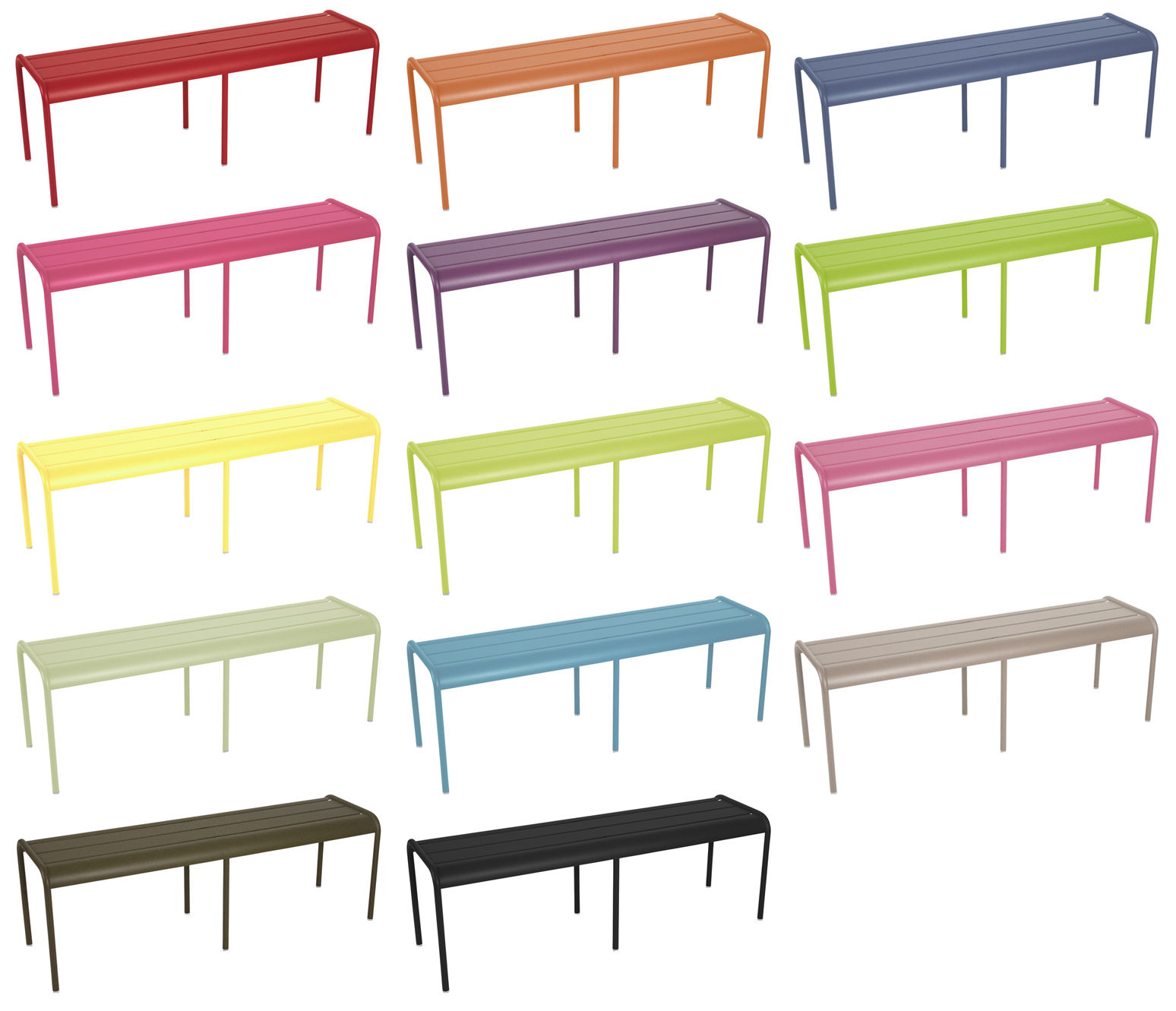 luxembourg bench 3 4 seats fuchsia by fermob. Black Bedroom Furniture Sets. Home Design Ideas