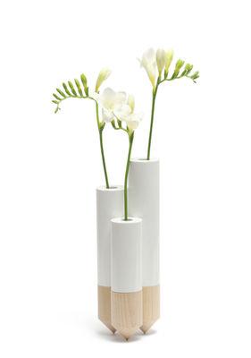 Pik Bud Vase Triple H 25 Cm White By Y A Pas Le Feu Au Lac