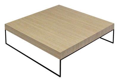 Table basse home bois clair et acier noir 100 x 100 cm - Table basse bois clair ...
