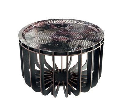 Table basse Medusa / Plateau multicolore amovible - Ø 46 cm - Ibride multicolore,noir en bois