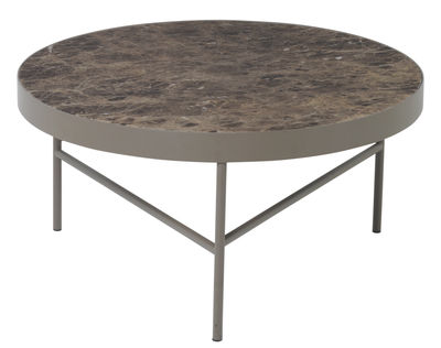 Table basse Marble / Large - Ø 70,5 x H 35 cm - Ferm Living marron clair en métal