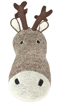 Déco - Pour les enfants - Peluche Tête de renne / Trophée en crochet - Anne-Claire Petit - Chocolat - Coton