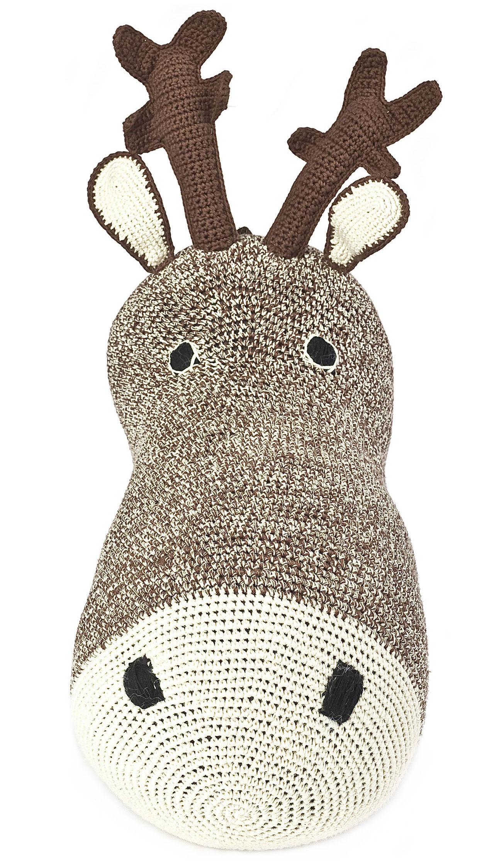 peluche t te de renne troph e en crochet chocolat anne claire petit. Black Bedroom Furniture Sets. Home Design Ideas
