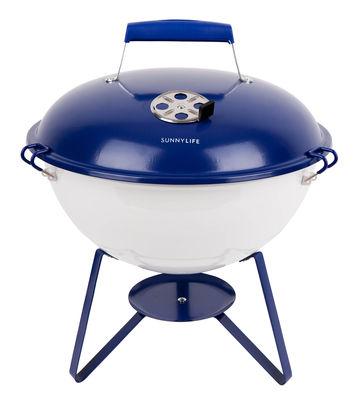Jardin - Barbecues et braséros - Barbecue portable à charbon Navy & White / Ø 37 x H 45 cm - Sunnylife - Bleu & blanc - Acier laqué époxy