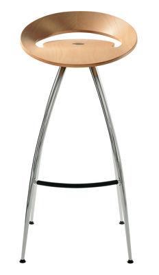 tabouret de bar lyra assise bois h 79 cm chrome magis. Black Bedroom Furniture Sets. Home Design Ideas
